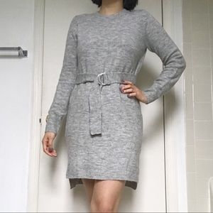 Belted sweater dress